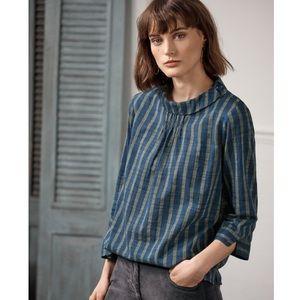 WRAP London Striped Collar-detail Blouse